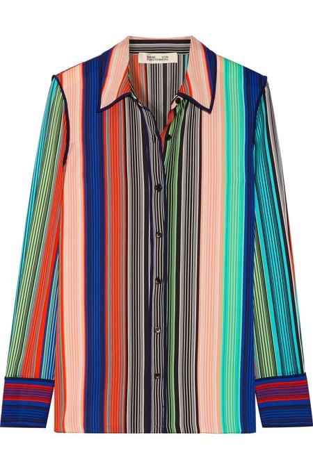 Diane Von Furstenberg Striped Silk-Blend Shirt - MULTI