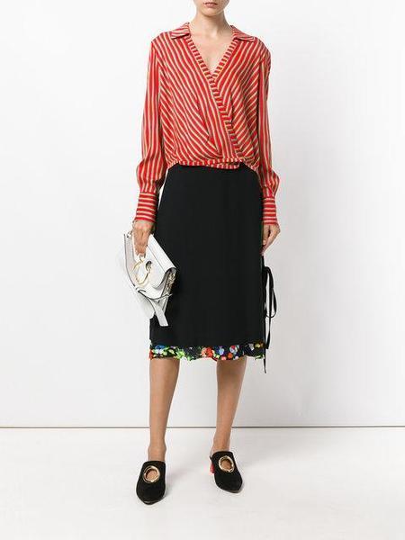 Diane Von Furstenberg Striped Wrap Blouse - RED