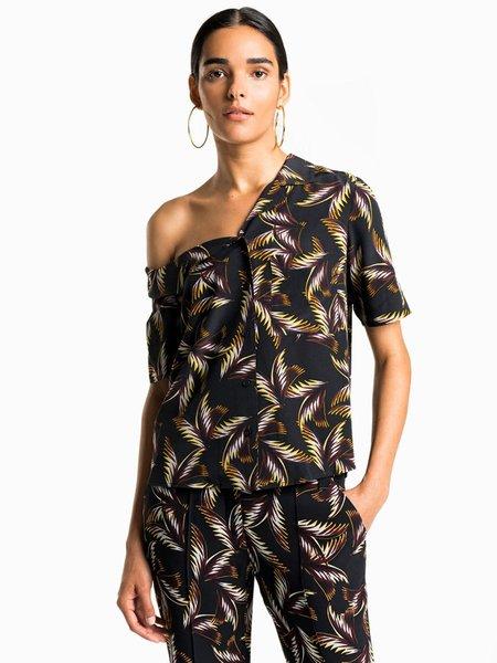 A.L.C. Fronds Shirt - BLACK/BLUE/BROWN MULTI