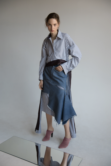 Litkovskaya Unhandled Denim Skirt