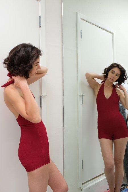 Beklina Tie Swimsuit Italian Lycra - Ruby