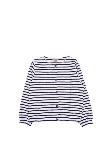 Kids Emile et Ida Marine Striped Terry Cardigan