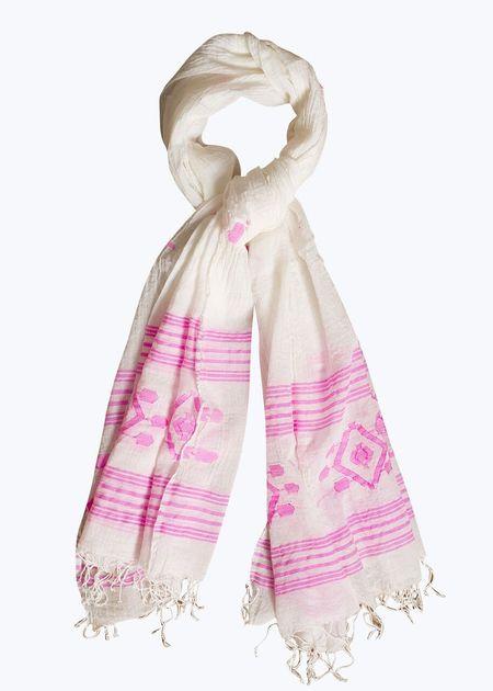 Auntie Oti Jamdani Scarf - Pink