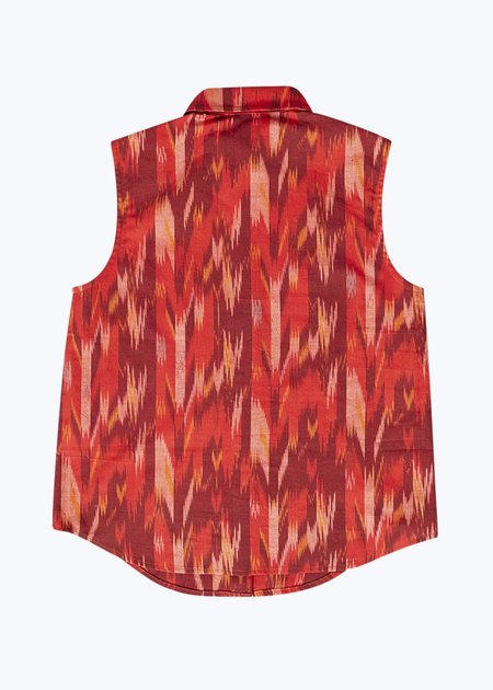 Thomas Sires S/L Button Down Shirt - Red Ikat