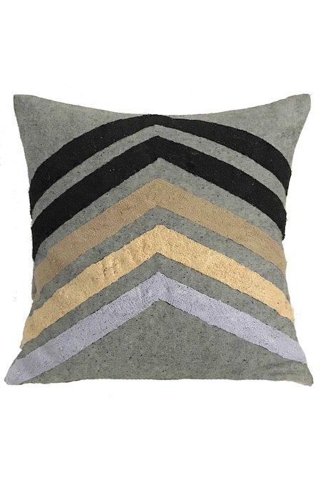 Veero Chevron Embroidered Pillow - Multi