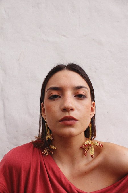 Makua Cymbidium Earrings - GREEN/RED