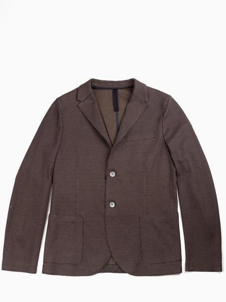 Harris Wharf 2 Button Knitted Blazer - Brown/Blue