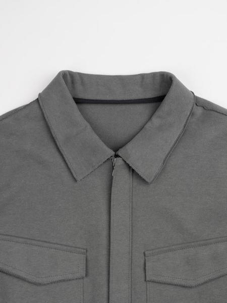 Harris Wharf Cotton Jersey Smooth Overshirt - Grey