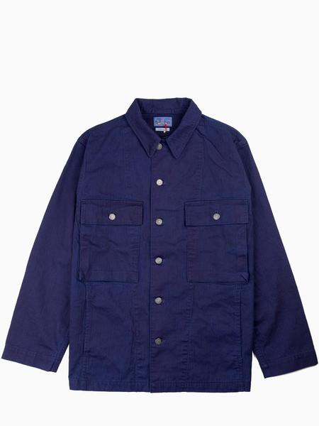 Blue Blue Japan Cotton Herringbone Pattern Big Pocket Shirt Jacket - Indigo
