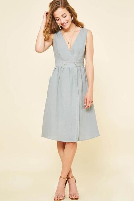 Cezanne Plunging Linen Midi Dress - Cobalt