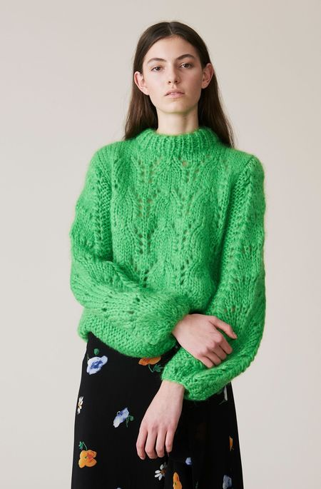 Ganni The Julliard Mohair Pullover - Classic Green
