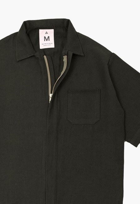 Deshal Twill Zip Overshirt - Black