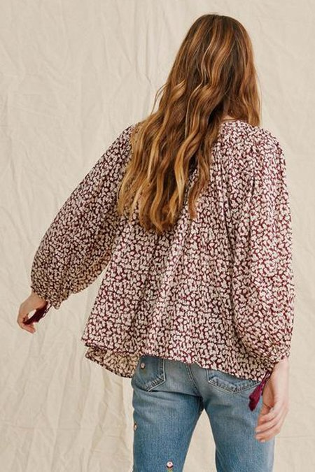 The Great. The Artist Blouse - Maroon Shadow Floral