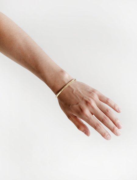 All Blues Triangle Bracelet - Brushed and Polished Gold Vermeil