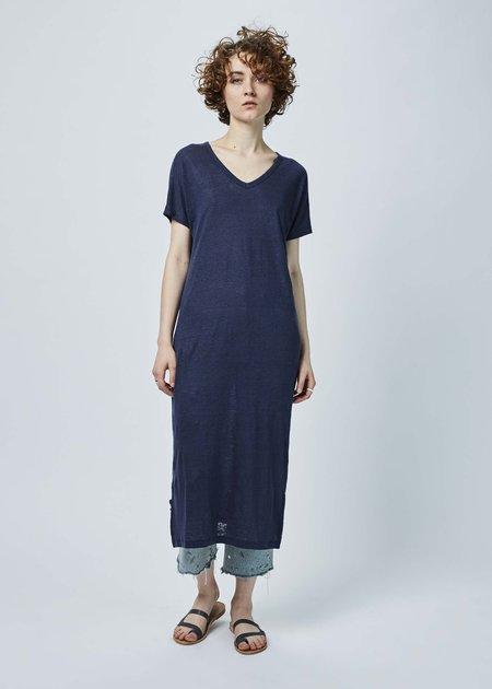 Lost & Found Long Linen T-Shirt Dress - Navy