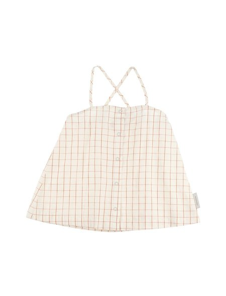 Kids TINYCOTTONS GRID WV BLOUSE - Stone/Carmine