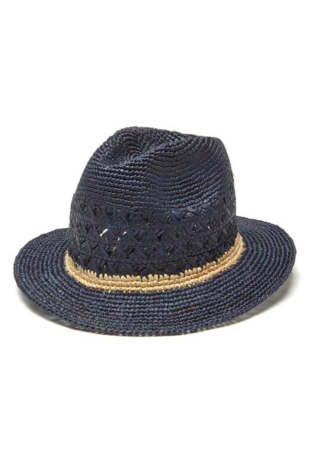 Mar Y Sol Avery Crocheted Fedora - Navy/Natural Stripe