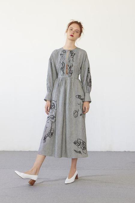 Heinui Lilith Dress - Embroidered Stripes