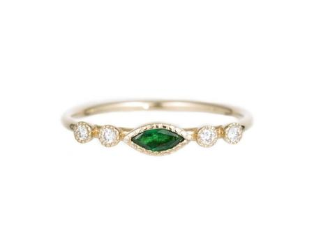 Jennie Kwon Marquise Dew Ring - Emerald