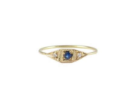 Jennie Kwon Mini Deco Point Ring - Sapphire