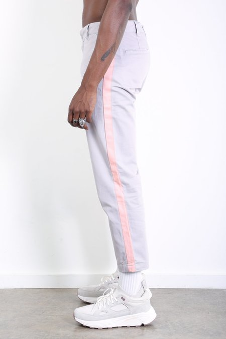 Dickies Construct Slim Stripe Trousers - Light Grey with Peach Stripe