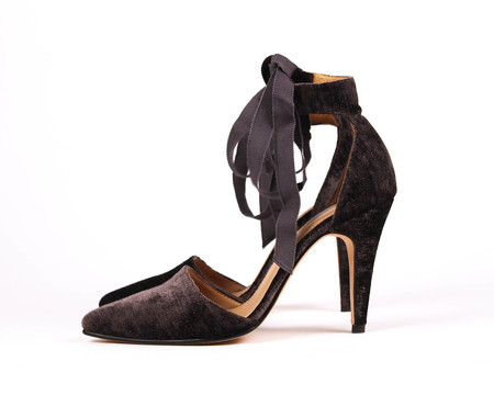 Ulla Johnson Velvet Kiki Heel - Dark Grey