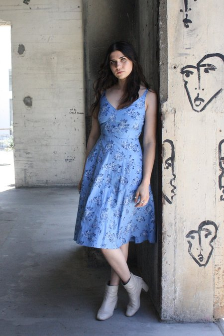 Myrtle Vaughn Dress - Periwinkle Blue Toile