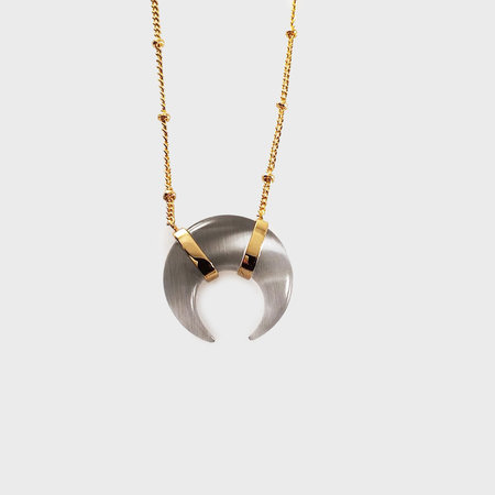 Elizabeth Stone Crescent Cat Eye Necklace