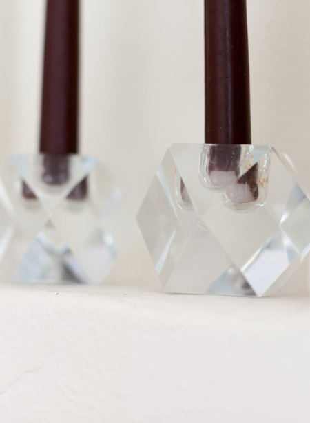 Found + Collected Faceted Glass Candlestick Holders