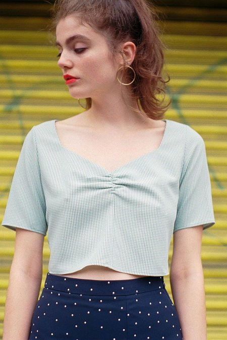 Side Party Field Day Gingham Cropped Blouse