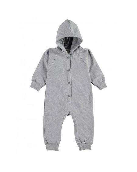 Kids Label Hooded Jumpsuit - Gray