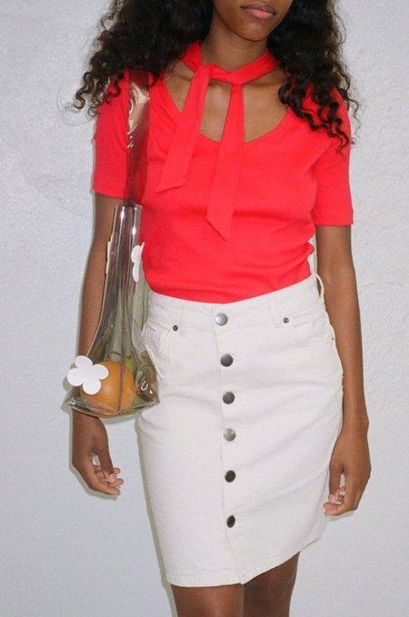 Lisa Says Gah Dree Tie Neck Tee Short Sleeve - Red