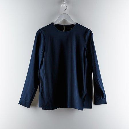 Tibi Silk Crepe de Chine Long Sleeve Layered Top - Navy/Black