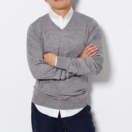 John Smedley V Neck Sweater - Grey
