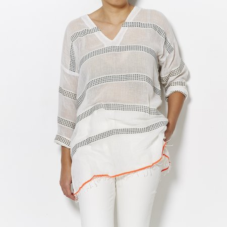 Lemlem V Neck Tunic - Charcoal/Orange