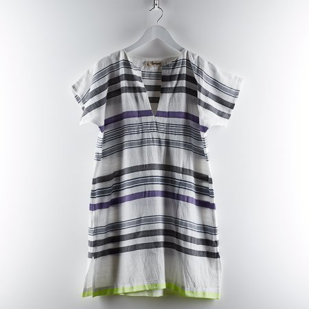 Lemlem V Neck Tunic Dress - Charcoal/Purple/Lime