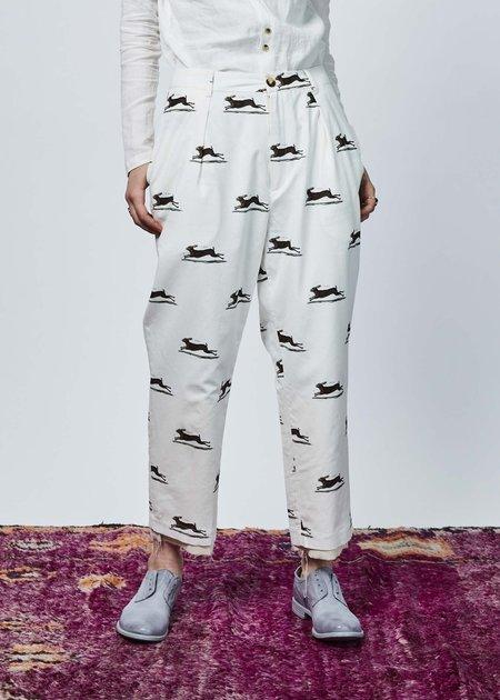 Aleksandr Manamis Pleated Crop Trouser - IVORY