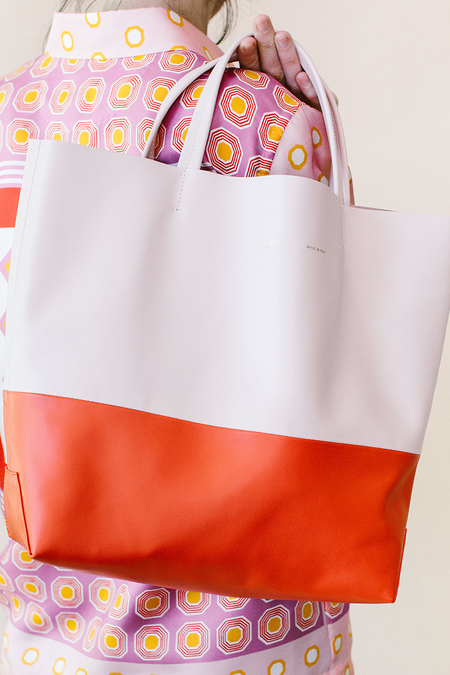 Alice D. Pale Pink Leather Tote -  pale pink + orange
