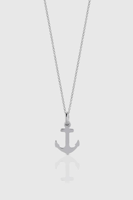 Meadowlark Anchor Charm Necklace - Sterling Silver