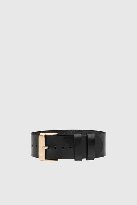 Unisex TID Watches Black Leather Wristband - Gold