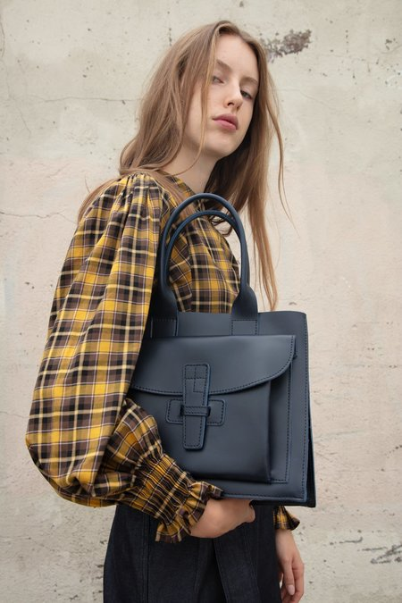 Agnes Baddoo Leather Bag - Navy