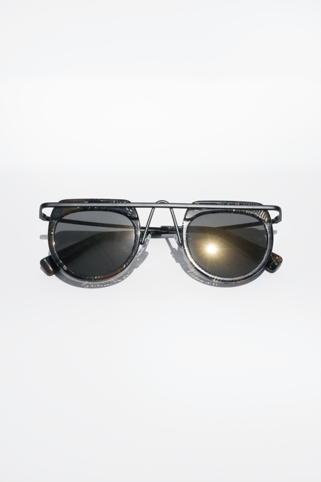 Alain Mikli Aujourd'Hui sunglasses - Palmier Chocolate/Matte Black + Graphite Gold Mirror