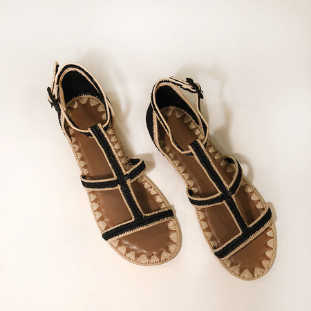 Carrie Forbes Tama sandal - Black/Bordure Natural