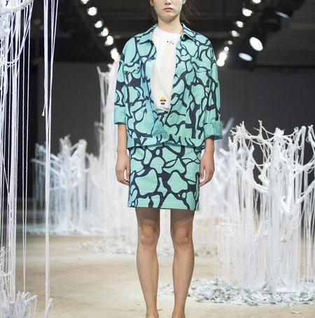 Cynthia & Xiao Mini Skirt - Turquoise Water Print