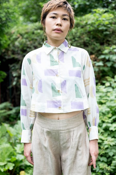 Maggie Jayne Crop Blouse - Block Print Shapes