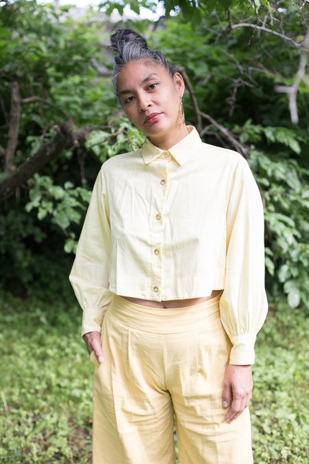 Maggie Jayne Crop Blouse - Yellow