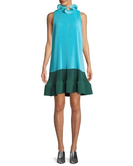 Tibi Pleat Dress - Blue/dark green
