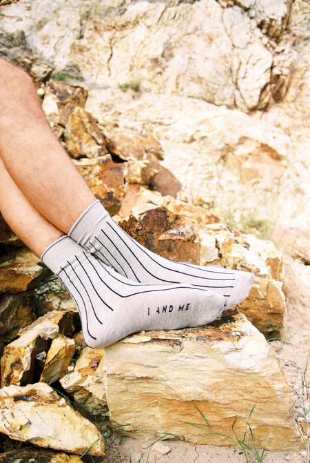 UNISEX I AND ME BRANDED STRIPE SOCKS PACK - Gray