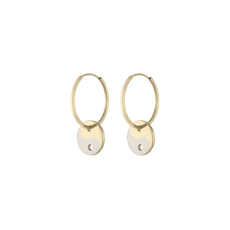 E.M. Kelly Yin Yang Hoops - Yellow Gold