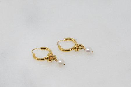 Eye M by Ileana Makri Knot Hoop Earring with Pearls